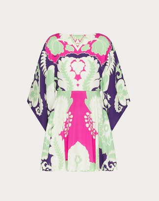Valentino Printed Cady Kaftan Dress Women Amethyst/multicolor Silk 100% 36
