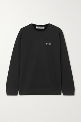 Valentino Printed Cotton-blend Jersey Sweatshirt - Black