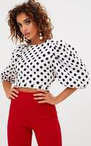 PrettyLittleThing White Polkadot Balloon Sleeve Crop Cotton Top