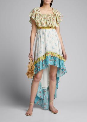 LoveShackFancy Alexia Floral High-Low Ruffle Dress