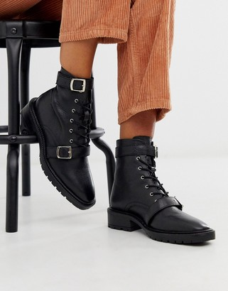 Asos DESIGN Astrid leather chunky military boots in black