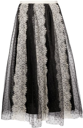 RED Valentino Tulle Lace Midi Skirt
