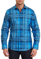 Robert Graham Lazio Ombre Plaid Jacquard Sport Shirt, Bright Blue