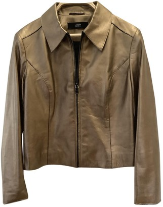 Uterque Gold Leather Leather Jacket for Women