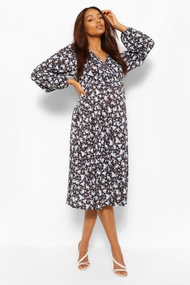boohoo Maternity Floral Drape Sleeve Wrap Dress