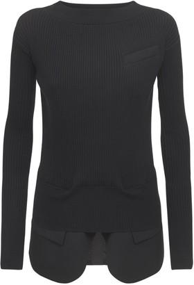 Sacai Cotton Blend Knit Crewneck Sweater