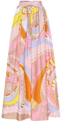 Emilio Pucci Printed cotton maxi skirt