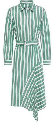Claudie Pierlot Asymmetric Belted Striped Cotton-poplin Shirt Dress