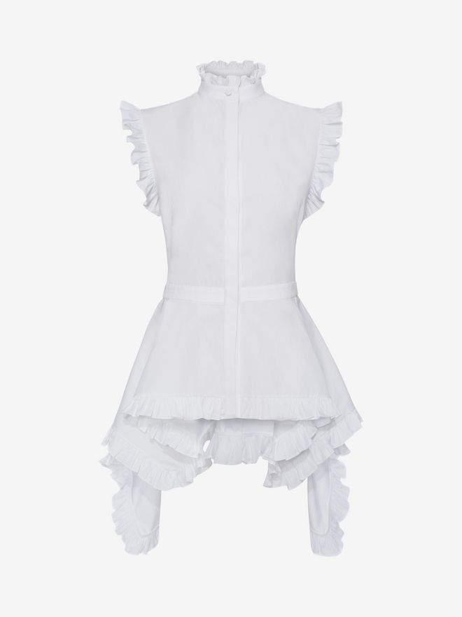 Alexander McQueen Sleeveless Peplum Poplin Shirt