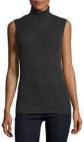 Neiman Marcus Superfine Sleeveless Ribbed Cashmere Turtleneck