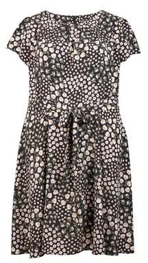 Dorothy Perkins Womens **Billie & Blossom Curve Black Ditsy Print Dress, Black