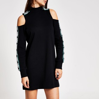 River Island Womens Black cold shoulder RVR sweatshirt dress
