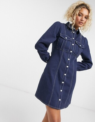 Tommy Jeans structed shirt dress in dark wash