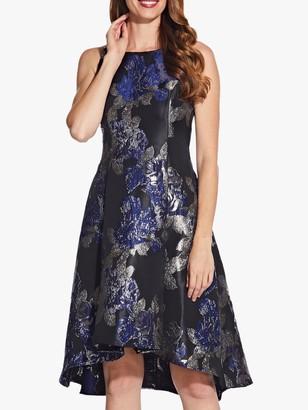 Adrianna Papell Metallic Jacquard High Low Dress, Black/Navy