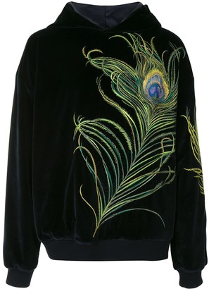 Dolce & Gabbana Peacock-Feather Embroidery Velvet Hoodie