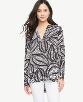 Ann Taylor Cheetah Leaf Split Neck Tunic