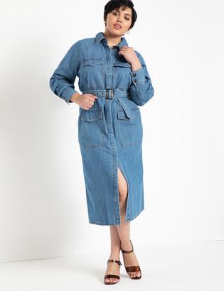 ELOQUII Denim Utility Dress