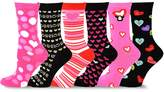 TeeHee Socks TeeHee Valentine's Day Hearts Love Women's Asst Crew Socks 6-Pk, Black White