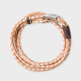Paul Smith Men's Light And Dark Taupe Leather Wrap Bracelet