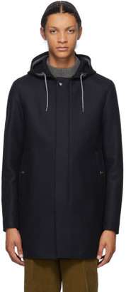 Herno Navy Wool Parka Coat
