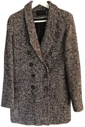 Ikks Burgundy Tweed Coat for Women