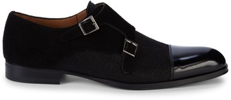 Mezlan Leather & Suede Monk-Strap Shoes