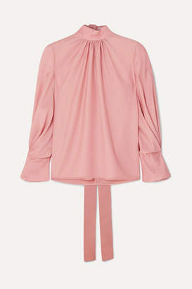 Emilia Wickstead The Woolmark Company Venice Gathered Merino Wool Blouse - Pink