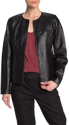 Eileen Fisher Round Neck Genuine Leather Jacket