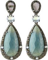 Bavna Mixed Gemstone & Diamond Drop Earrings