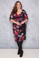 Yours Clothing SCARLETT & JO Black & Multi Floral Print Wrap Bodycon Dress