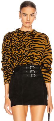 Proenza Schouler White Label Animal Jacquard Cropped Pullover in Fatigue & Black | FWRD