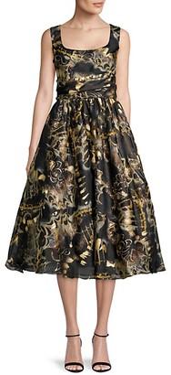 Marchesa Foil Print Fit--Flare Dress