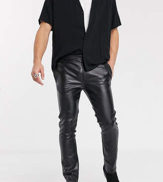 Heart N Dagger skinny faux leather trousers in black
