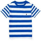 Ralph Lauren Striped Cotton Slub Jersey Tee, Pure White/Blue, Size 5-7