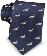 Marina D'Este Pink Flamingo Blue Woven Silk Tie