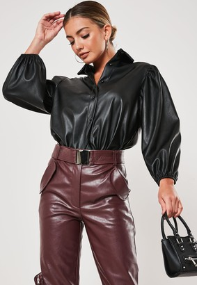 Missguided Black Faux Leather Puff Sleeve Shirt