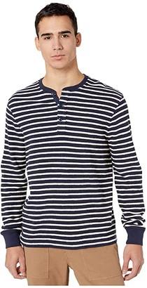 J.Crew Knit Henley in Textured Stripe (Navy Antique Starboard Stripe) Men's Clothing