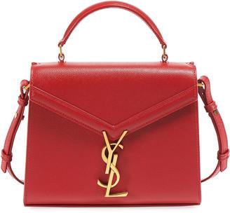 Saint Laurent Cassandre Small Monogram Grain Leather Top-Handle Bag - Golden Hardware