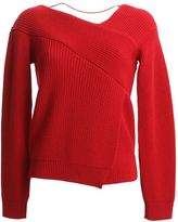 MSGM Red Ribbed Wool Jumper