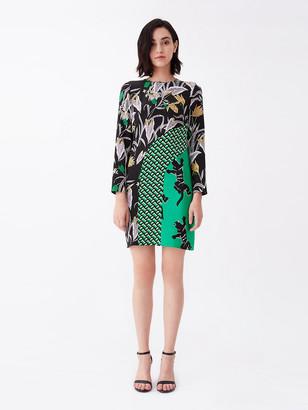 Diane von Furstenberg Jamie Silk Crepe de Chine & Crepe Mini Dress