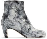 Maison Margiela Black and White Python Painted Tabi Boots