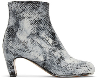 Maison Margiela Black and White Python Painted Tabi Boots