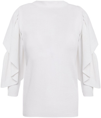 See by Chloe Cold-shoulder Ruffled Ribbed Cotton-blend Sweater