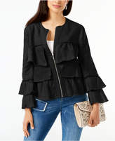 INC International Concepts Petite Linen Ruffled Jacket, Created for Macy's