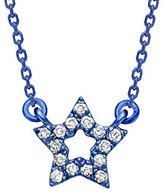 As 29 AS29 Women's 18ct Blue Gold Round White Diamonds Mini Empty Star Necklace of Length 38-40cm