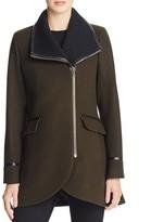 Trina Turk Rib-Knit Collar Long Moto Jacket
