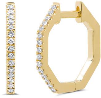 Ron Hami Octagonal 14k Diamond Huggie Hoop Earrings