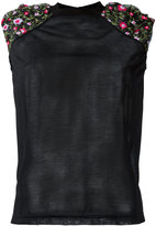 Kolor shoulder embroidered flowers T-shirt - women - Cotton/Polyester - 2