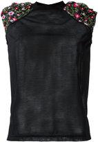 Kolor shoulder embroidered flowers T-shirt