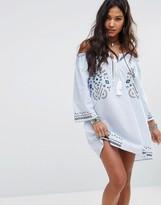 Boohoo Embroidered Bardot Smock Dress